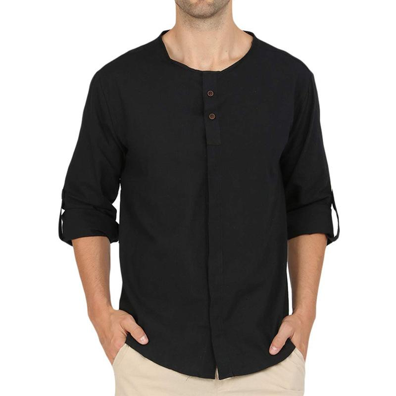 Homens de linho Camisetas Outono Casual Colarless Longo Manga Mens Camisa Sólida Sólida Camisas Coloridas Confortável Camisa