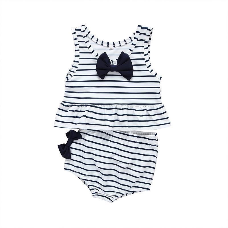 아기 소녀 세트 분할 수영복 민소매 코튼 활 줄무늬 비키니 비치 정장 수영 모래 1 조각