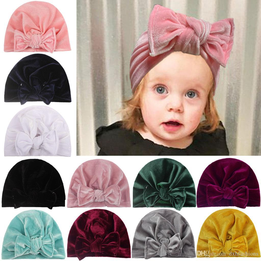 Хлопок сплошной цвет бантики тюрбана шляпы новорожденного младенца сладкие шапки шапки девушки фотография реквизиты мягкая шляпа малыша дети повседневные шапочки