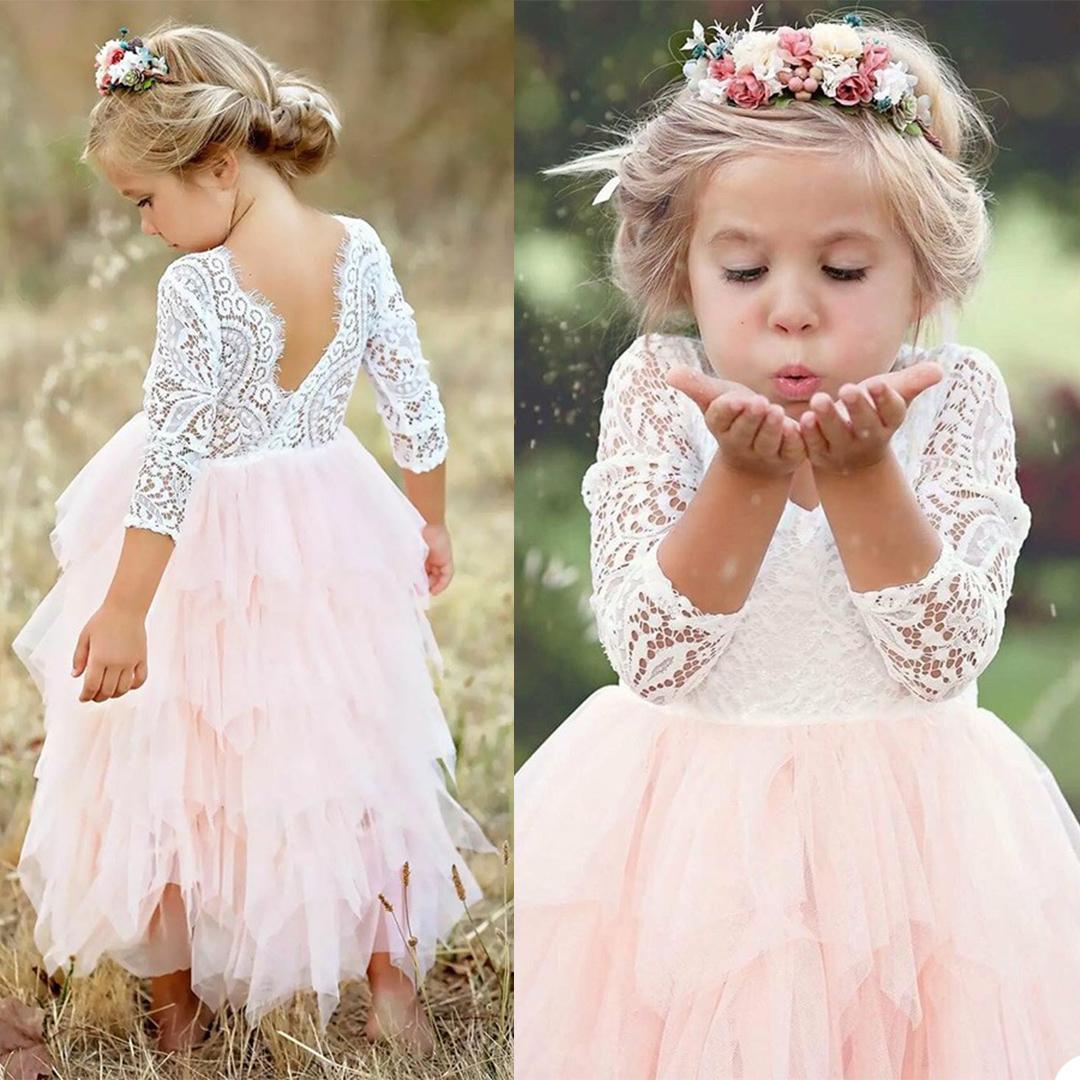 Beautiful Lace Flower Girls Dresses For Wedding V Neck 3/4 Long Sleeve Ankle Length A Line Communion Dress
