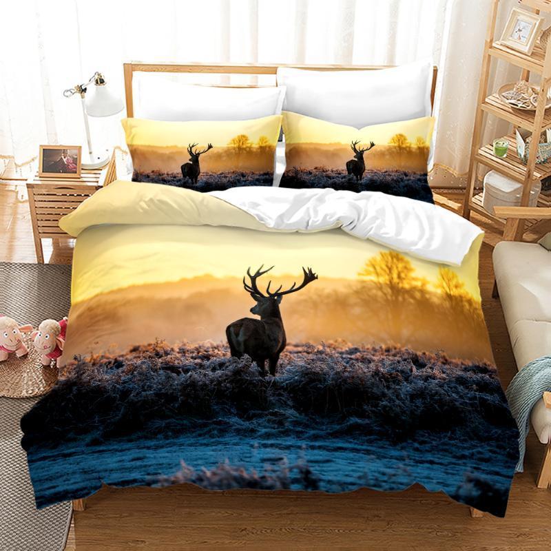 Conjuntos de ropa de cama Serie de ciervos salvajes Cubierta de edredón Set Edredones Pillowcases Africano Jirafa Reina King Tamaño completo 3D Elk Parriler
