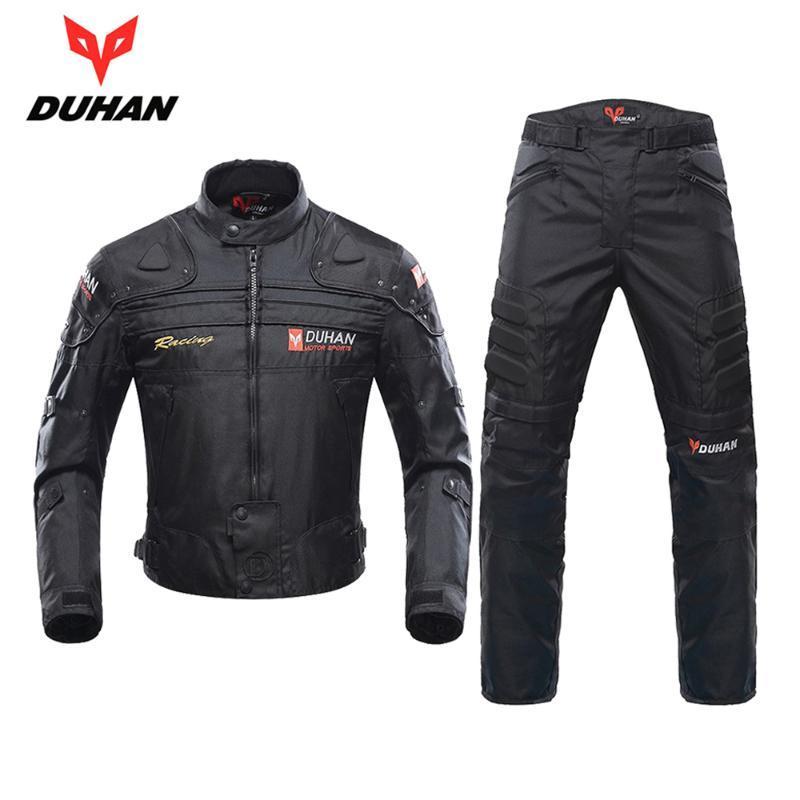 Rüzgar Geçirmez Motosiklet Yarışı Takım Elbise Koruyucu Dişli Zırh Ceket + Motosiklet Pantolon Kalça Koruyucu Moto Giyim Seti Giyim