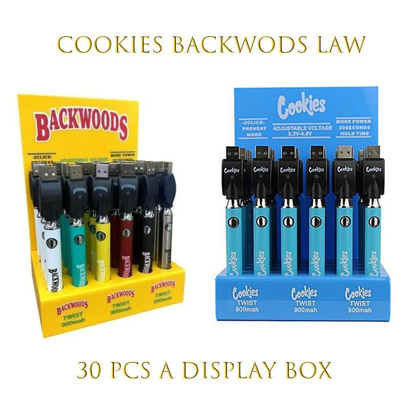 쿠키 backwoods 법전 비틀기 VV 배터리 900mAh 하단 전압 조정 가능한 USB 충전기 vape 펜 30pcs 디스플레이 상자