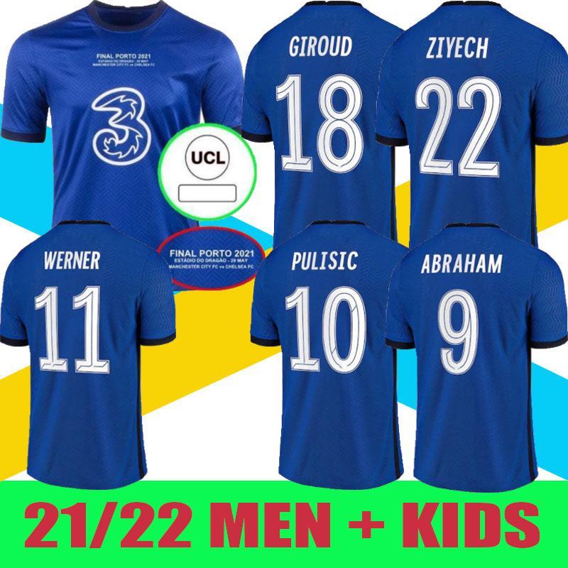 Porto Final 2021 O Blues Chel Sea Soccer Jersey # 7 Kante # 29 Havertz # 19 Monte # 10 Pulisic Home Camisa CL Versão Futebol Uniformes