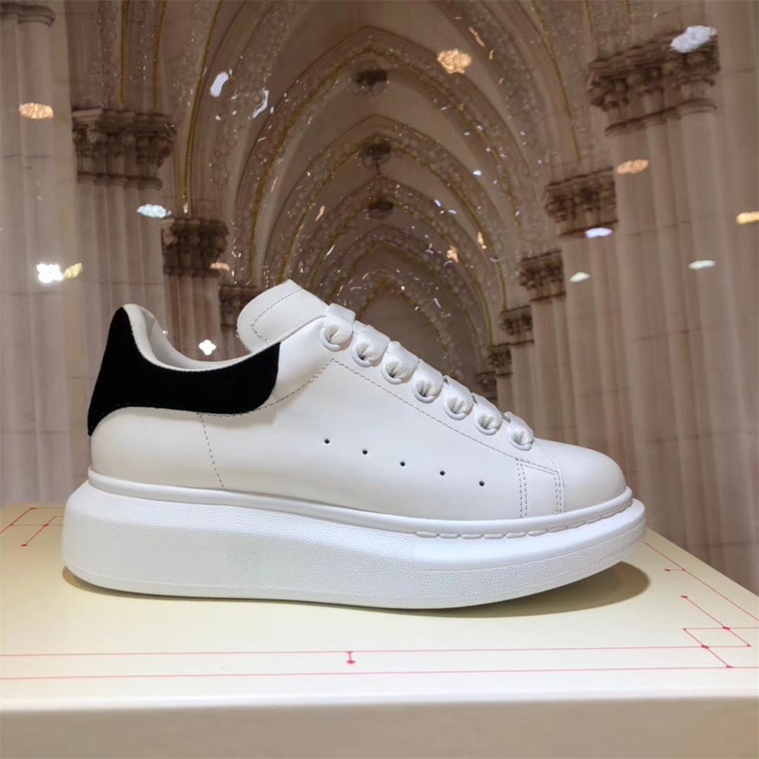 الرجال النساء منصة عارضة الأحذية السيدات أسود أبيض المخملية الجلود اليدوية أحذية الرجل الراحة المدربين الدانتيل يصل chaussures 35-46