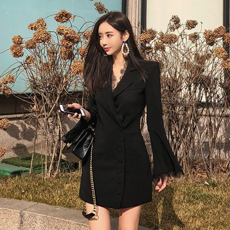 Casual Dresses Women's Korean Style Lace Flare Long Sleeve Single Breasted Celebrity Blazer Dress