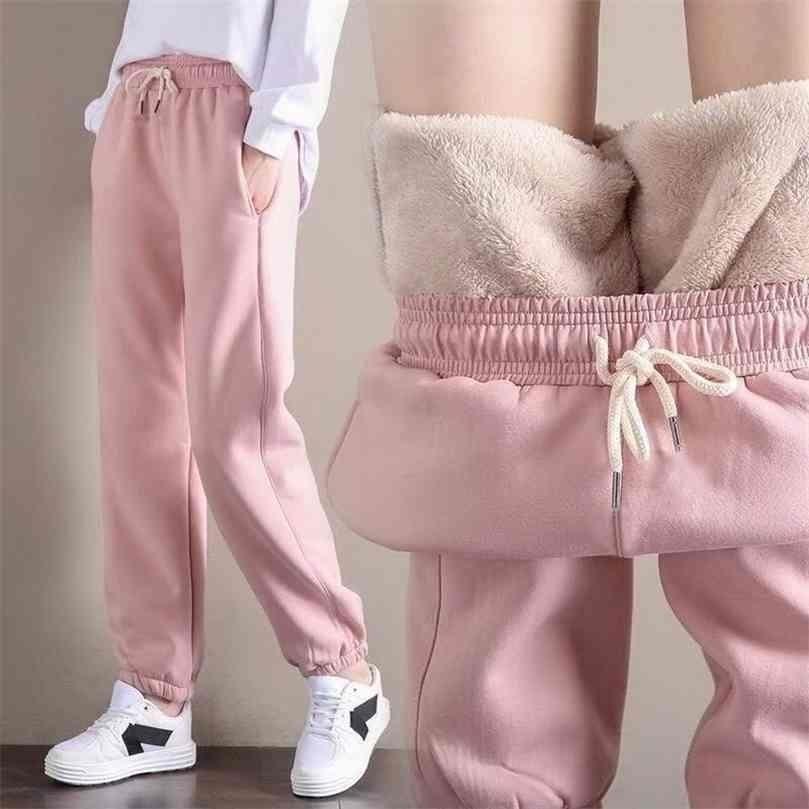 Women Fleece Thick Warm Pants Lady Loose Plus Velvet Sport Sweatpants Female Workout Autumn Winter 210922