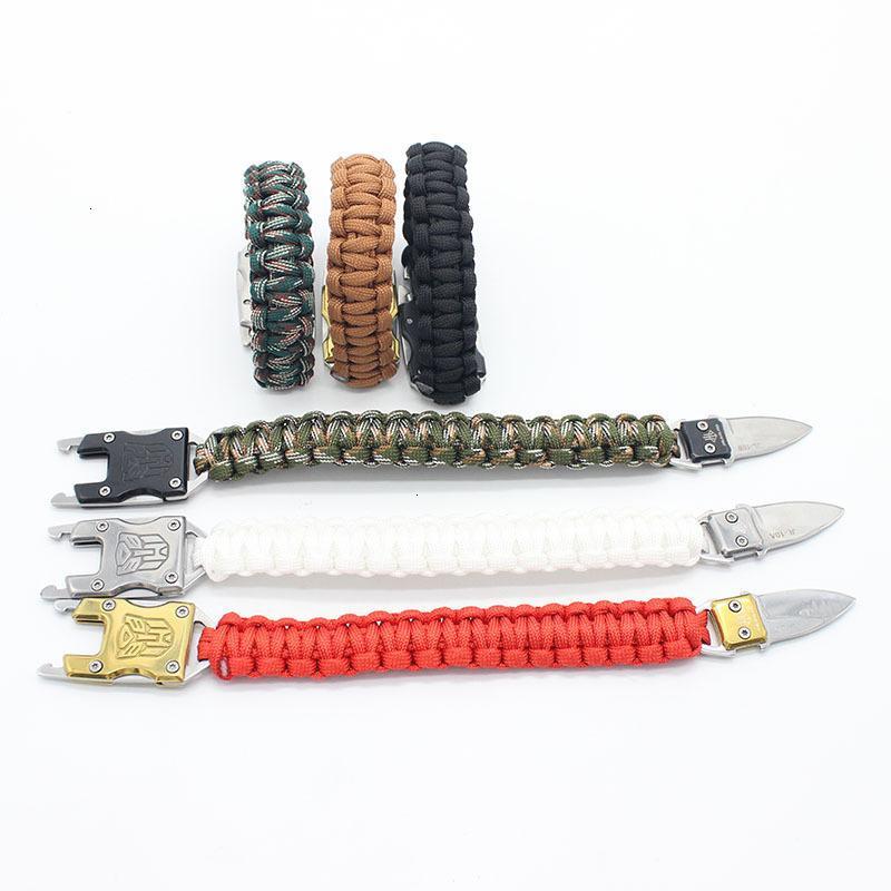 Couteau métallique à l'extérieur de l'autodéfense à sept noyau bracelet parapluie tissé