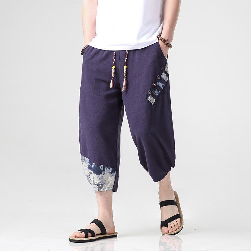 Pamuk Keten Harem Pantolon 2021 Yaz Harajuku Parça Buzağı Uzunlukta Gevşek Joggers Erkekler Kore Moda Rahat Pantolon Erkekler