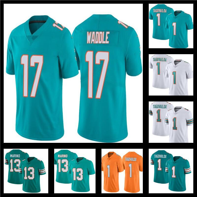 1 Tua Tagovailoa 17 Jaylen Waddle Football 13 Dan Marino Color Rush Orange Miami