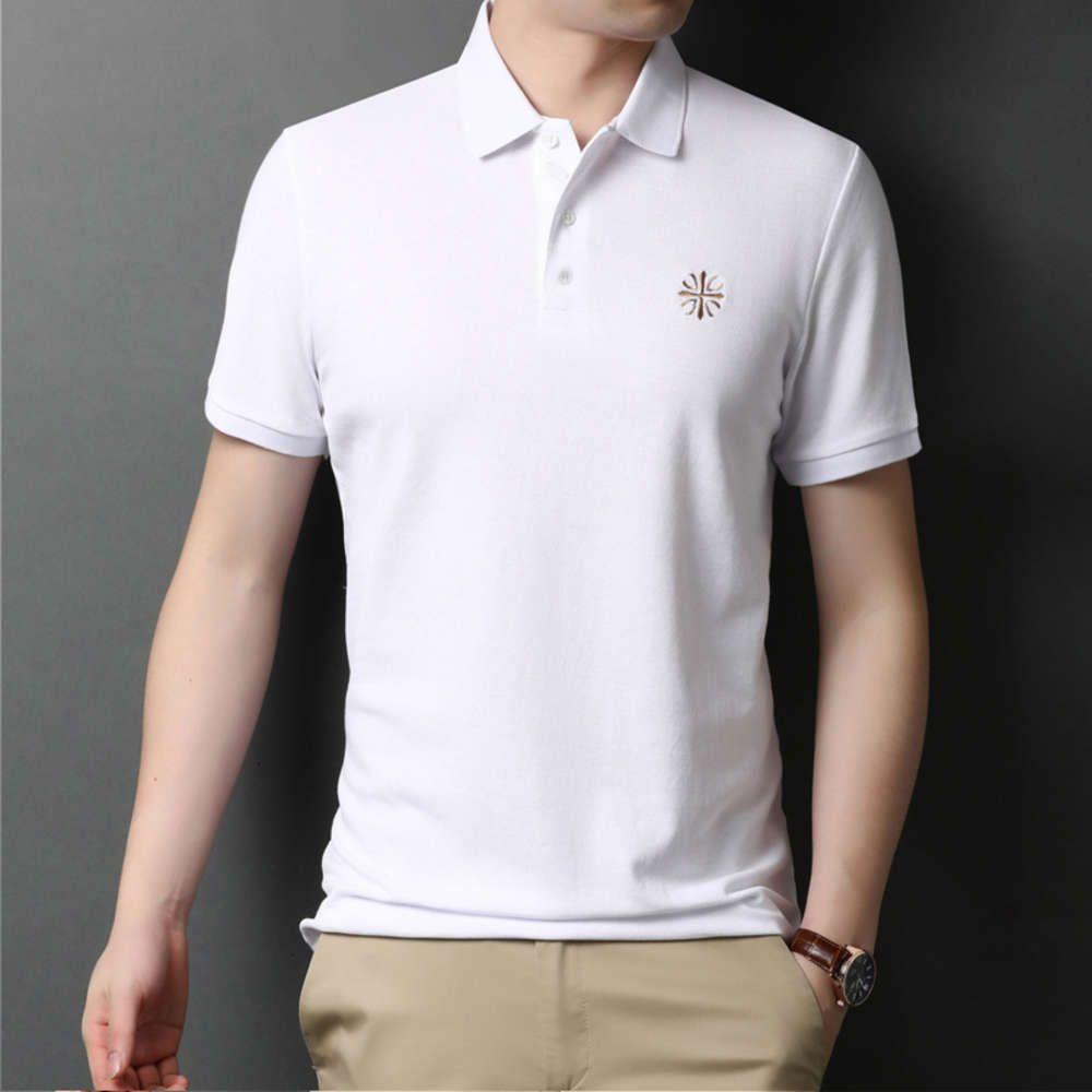 Поло с коротким рукавом 2021 лето среднего возраста мужская сплошной цвет хлопчатобумажный отворот повседневная рубашка поло свободная футболка