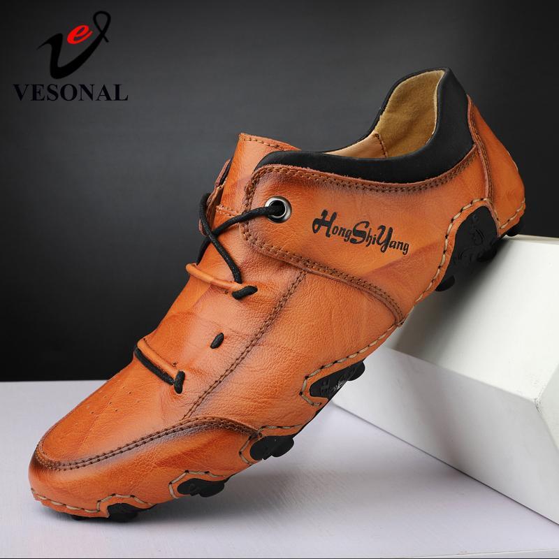 Vesonal Big 크기 47 48 신발 여름 2021 정품 가죽 수제 가죽 빈티지 남자 신발 캐주얼 로퍼 남성 드라이버 소프트