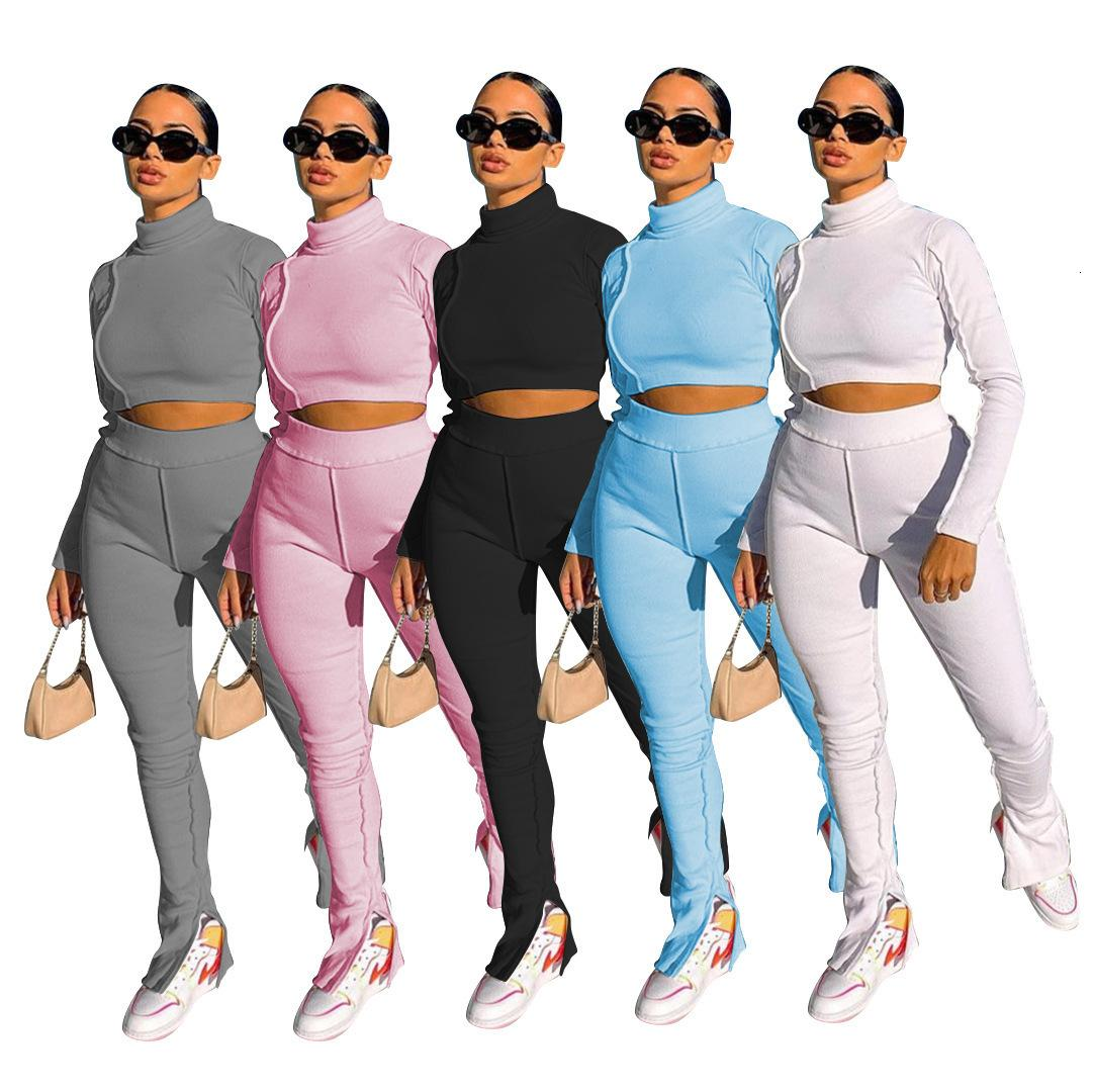 2020 Casual Femmes Designers Vêtements Vêtements Loisirs à manches longues Collier Micro Split Rib de deux pièces Mode Slim Automne et hiver