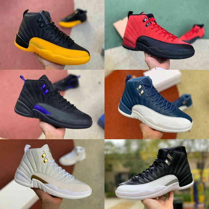 2021 أعلى جودة منخفضة الفصح 12 12 ثانية أحذية رجالي كرة السلة الفرنسية الأزرق رياضة أحمر الشتاء لعبة الكرة ميشيغان منتصف الليل الأسود سيد جاما مدرب رياضة