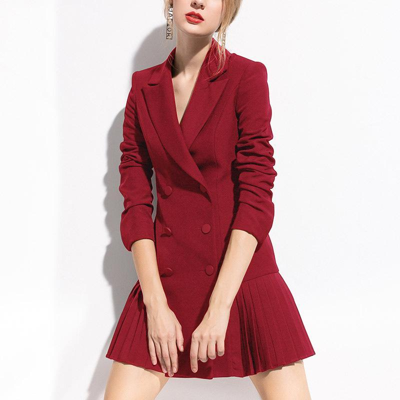 Womens Long Sleeve Suit Blazer Double Breasted Dress Jacket Spring Elegant Sexy Office Lady Plus Size Fashions Button Notched Women's Suits