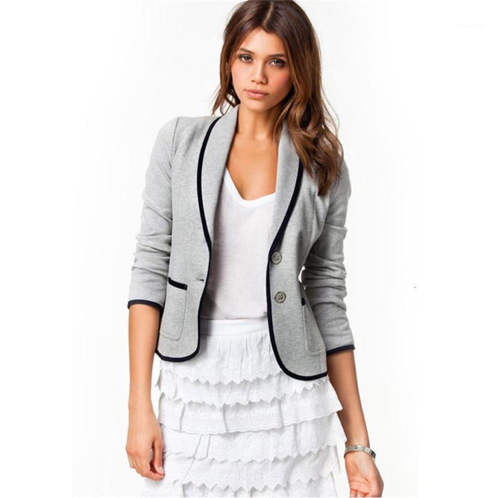 여성 가을 블레이저 새 여성 슬림 코트 슬리밍 짧은 옷깃 정장 여성 재킷 2 색 9 크기 S-6XL1
