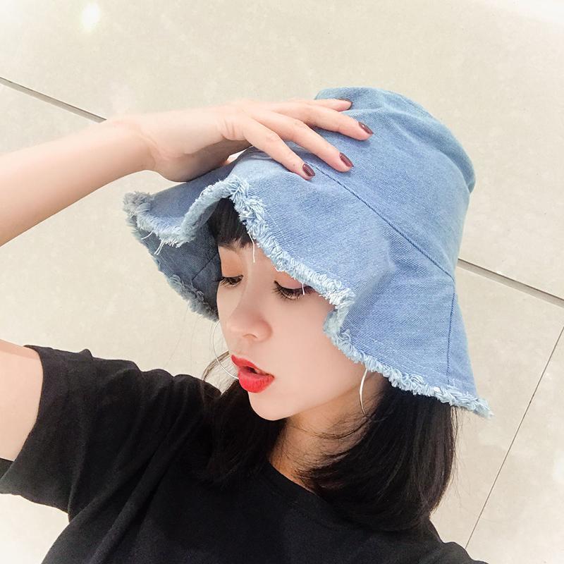 Moda Denim Katı Renk Kova Şapka Kadınlar Için Bayanlar Geniş Brim Plaj Şapkalar Kadın Katlanabilir Dekorasyon Aksesuarları