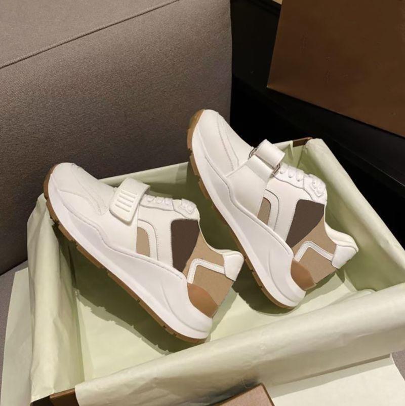 أزياء الرجعية أحذية الجلد المدبوغ نمط محايدين زوجين أحذية رياضية سميكة سولكرو الفيلكرو المتسكعون تنفس شبكة اللون كتلة عارضة الأحذية