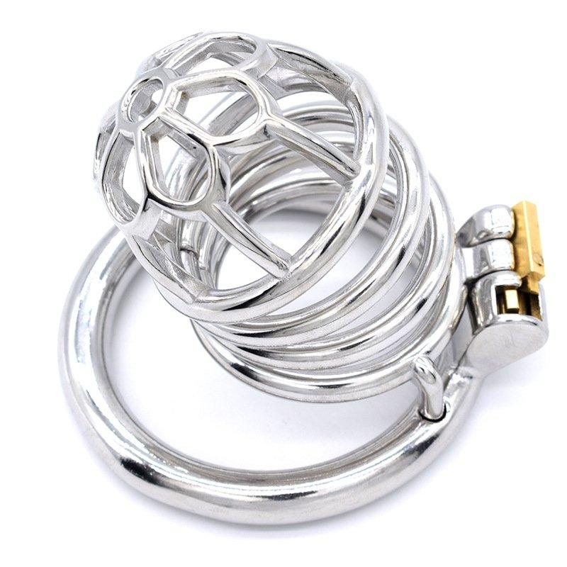 Pênis tranquilável Bancada Bloqueio de Aço Inoxidável Gaiola Gaiola Anel de Metal Chastity Dispositivo Cinto Sexo Brinquedos Para Homens