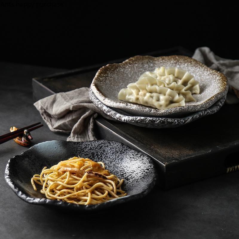 Stile giapponese Creativo Ceramica Platino rotondo Pietra Solida Pietra Steak Steak Sushi Barbecue Formaggio Pizza Fruit Vassoio piatto