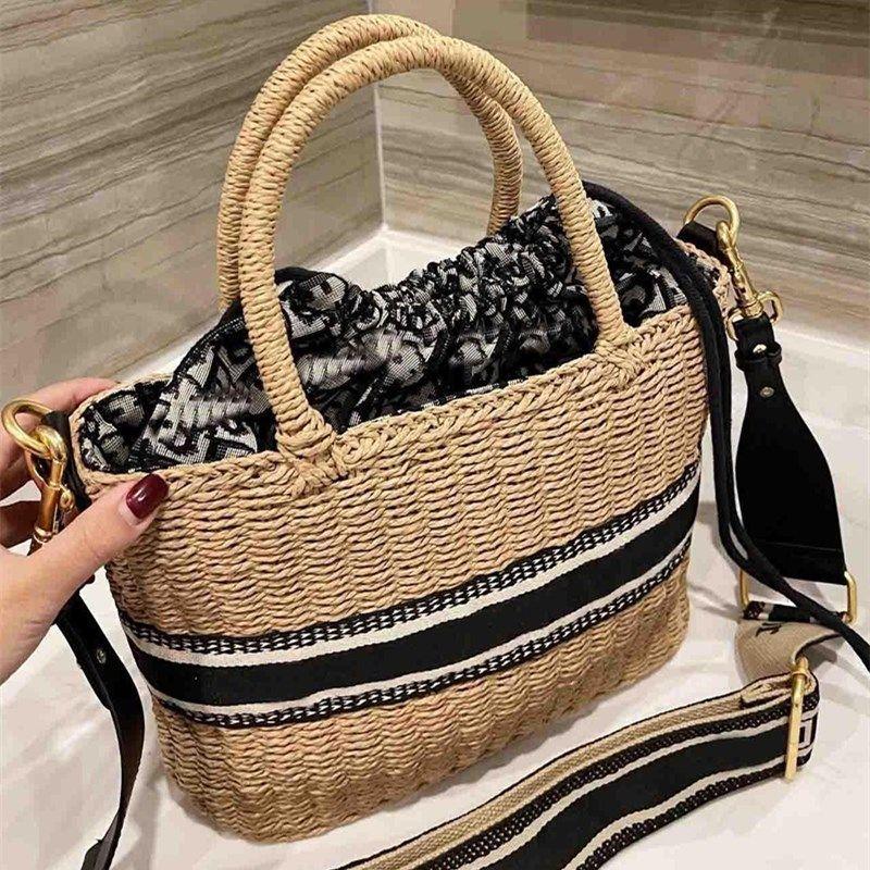 Sacos de palha de verão palha sacos casuais casuais mulheres bolsas de vime tecidos fêmea totes grande capacidade senhora buckets mensageiro ombro saco de compras de bolsa de viagem