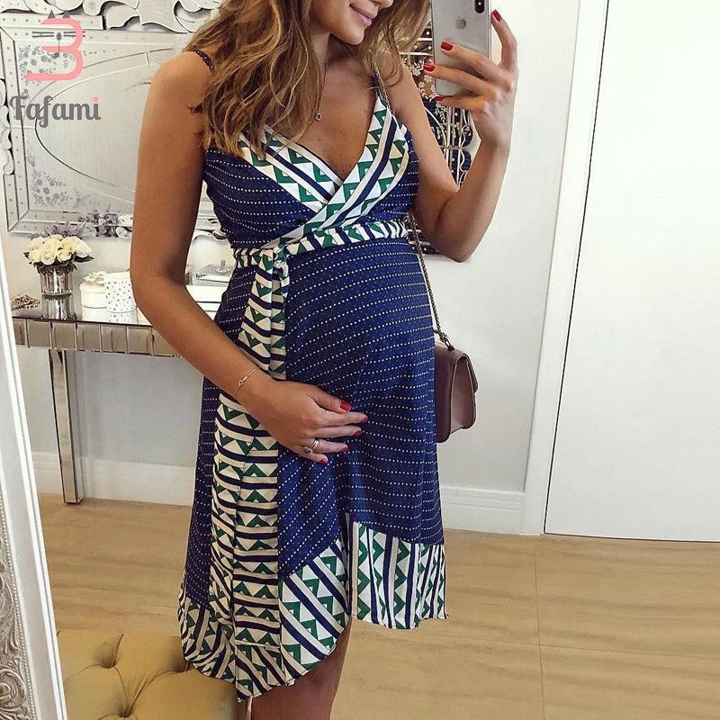 여성의 민소매 출산 간호 복장 Bohemian Sundress 임신 한 여성 의류 드레스를위한 모유 수유