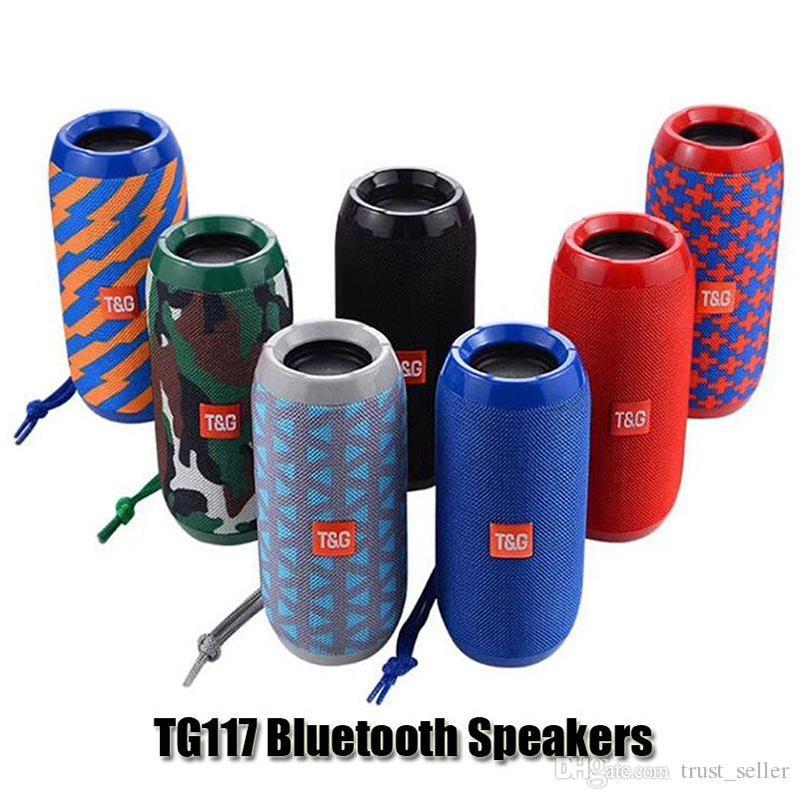 TG116 Yükseltme Sürümü TG117 Bluetooth Taşınabilir Hoparlör Çift Boynuz Mini Açık Su Geçirmez Subwoofer Kablosuz Hoparlörler Destek TFT USB Kart FM Radyo DHL