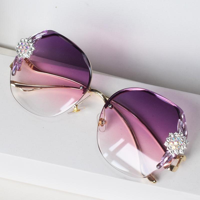 Солнцезащитные очки Нерегулярные моды RIMLEL RIMLESS Роскошные женские бренд дизайнер Bling Chinestone Солнцезащитные очки Винтажные оттенки Гафас де Соль