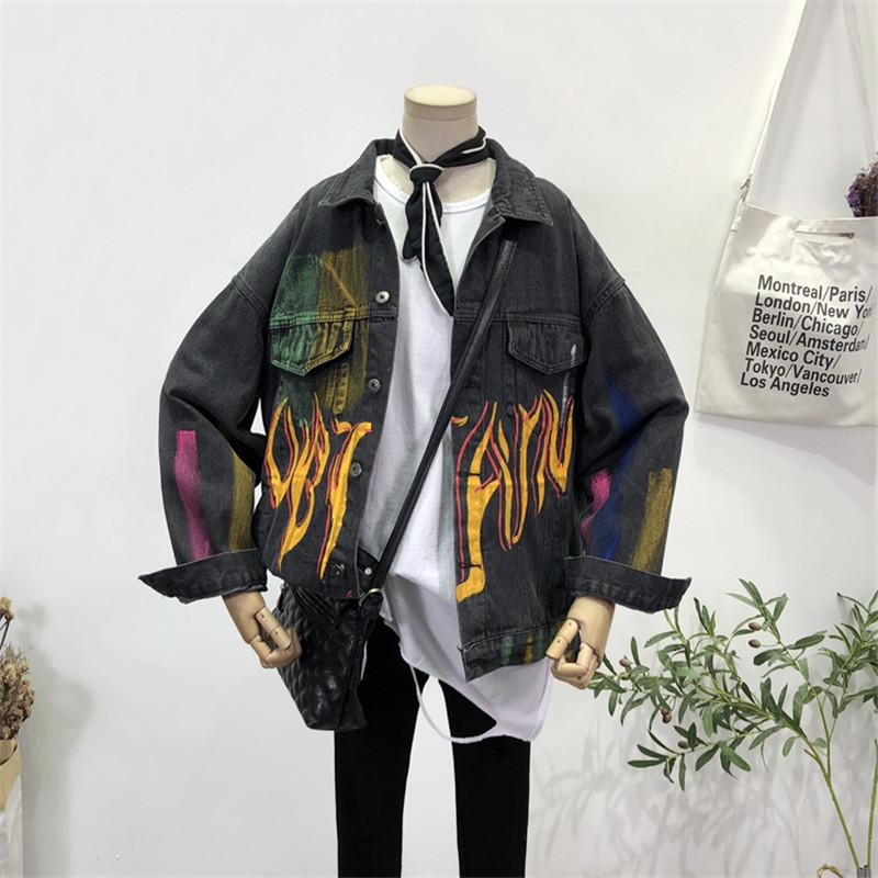 Mulheres Faux Faux Graffiti Imprimir Letras Mulheres Denim Jaquetas Outerwear Patchwork Moda Oversize Feminino Hip Hop Jeans Casaco Casaco Tops