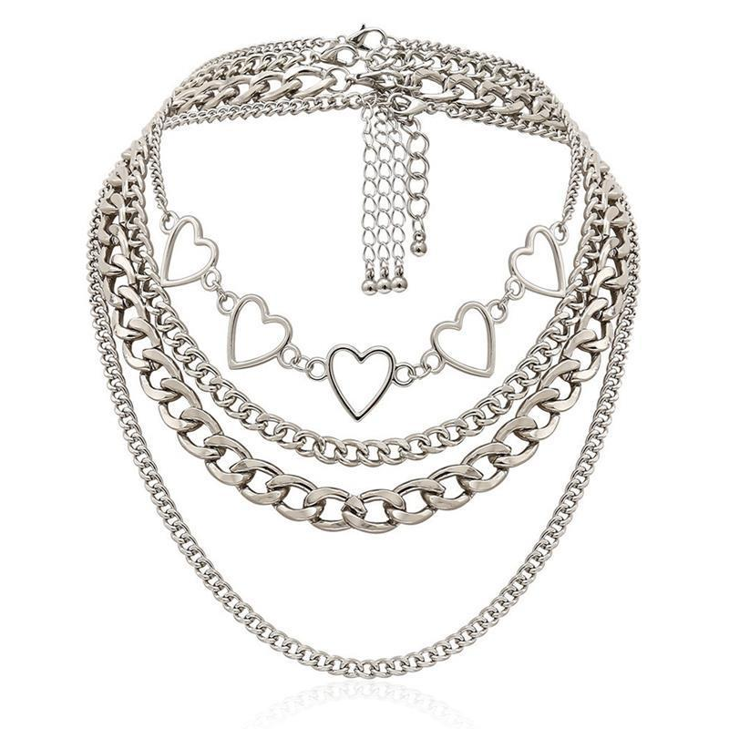 Collar de cadena con capas del corazón Collar de aleación gargantilla de plata color punk hip hop estilo damas joyería femme chokers