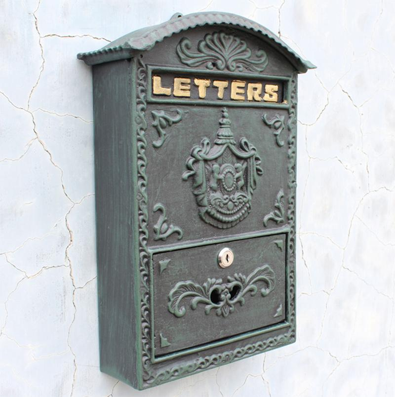 Cast Aluminum Iron Mailbox Postbox Garden Decorations Dark Green Wall Mount Metal Post Mail Letters Box Home Yard Patio Courtyard Decoration Locked Vintage Antique