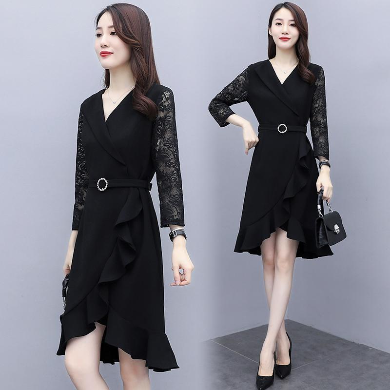 Bayan Dantel Mermaid Büyük Artı Boyutu L-5XL Elbise XXXL 3XL XXXXL 4XL Ince Rahat Parti Moda Siyah Kemer İş Ofis İş elbiseleri