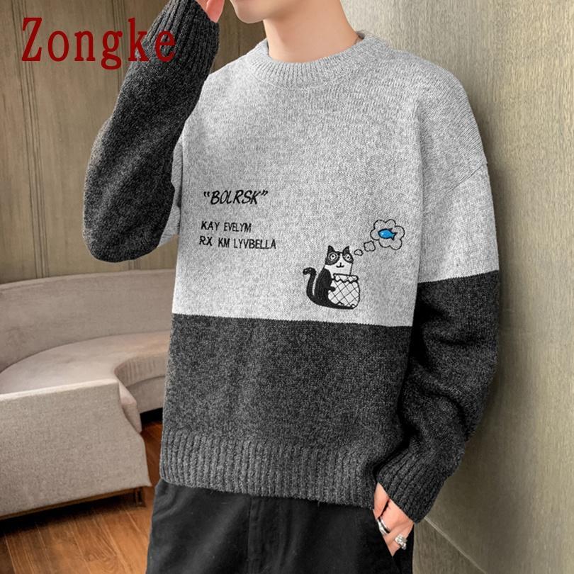 겨울 니트 스웨터 남성 한국 남성 의류 풀오버 남자 스웨터 만화 고양이 풀오버 스웨터 2021 도착 M-3XL
