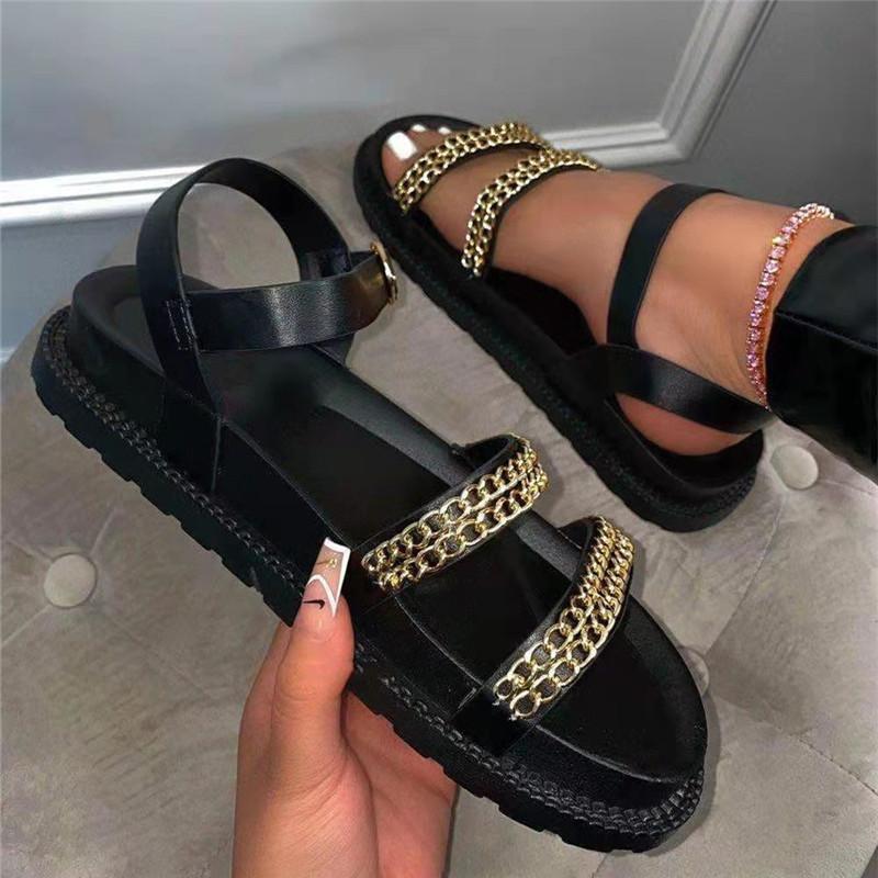 2021 Yaz Yuvarlak Ayak Yumuşak Alt Sandalet Ins Plaj Platformu Kadın Büyük Boy Metal Zincir Roma Sandal