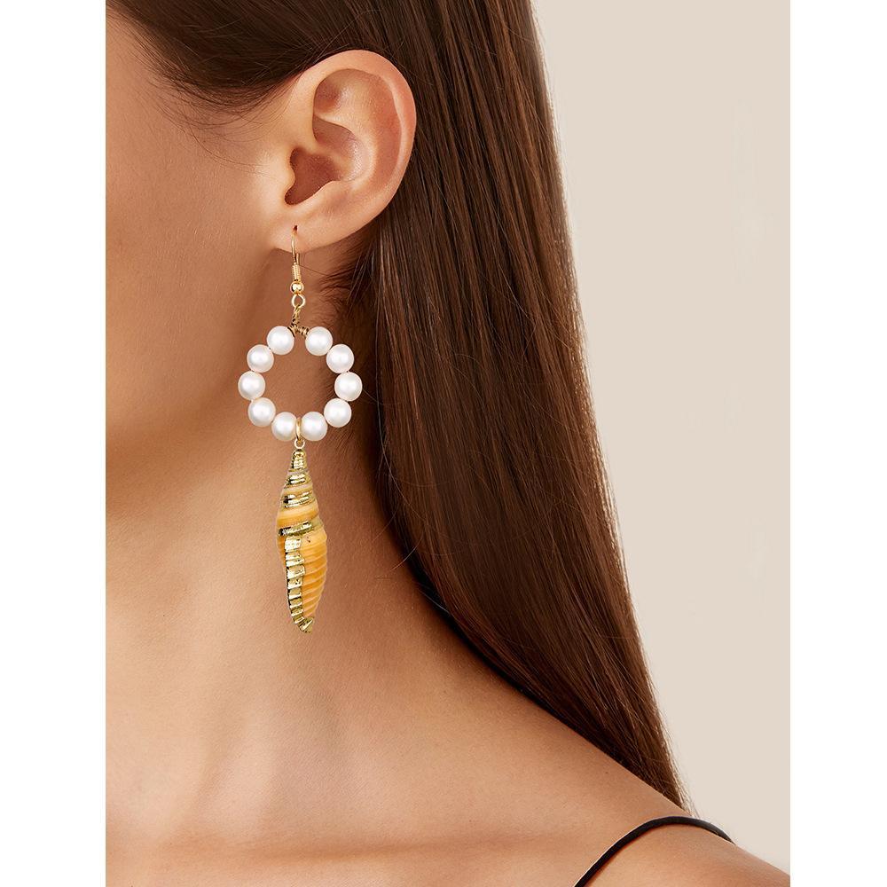 Sea Breeze Conch Shell Weibliche Modekreis Perle Ohrringe Ursprung Einfacher Schmuck
