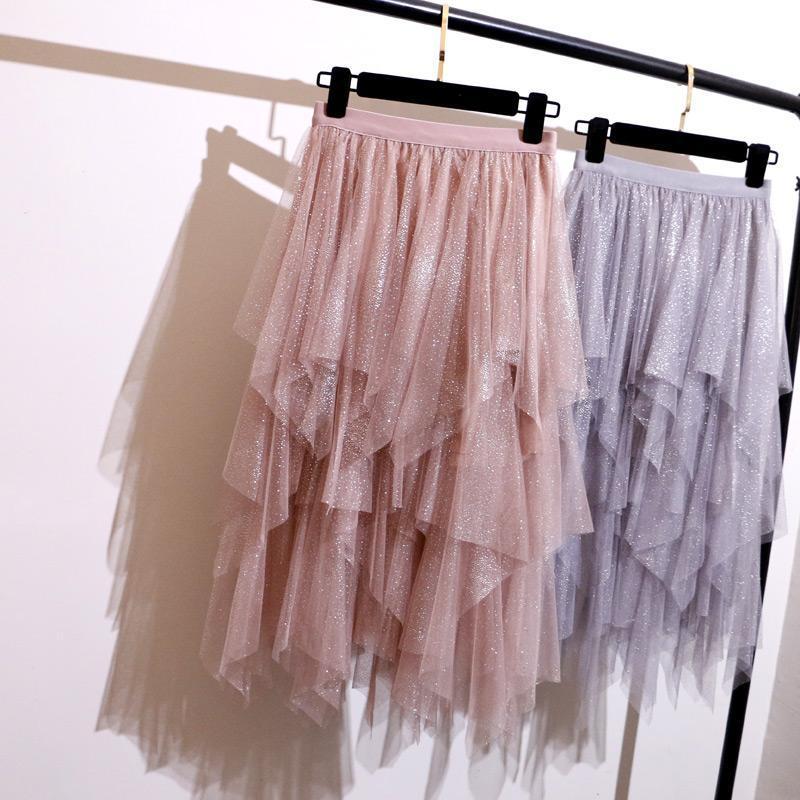 Gonne 887 Primavera Cake irregolare Ragazza Bright Silk Yarn Skirt Sezione lunga vita alta pieghettata