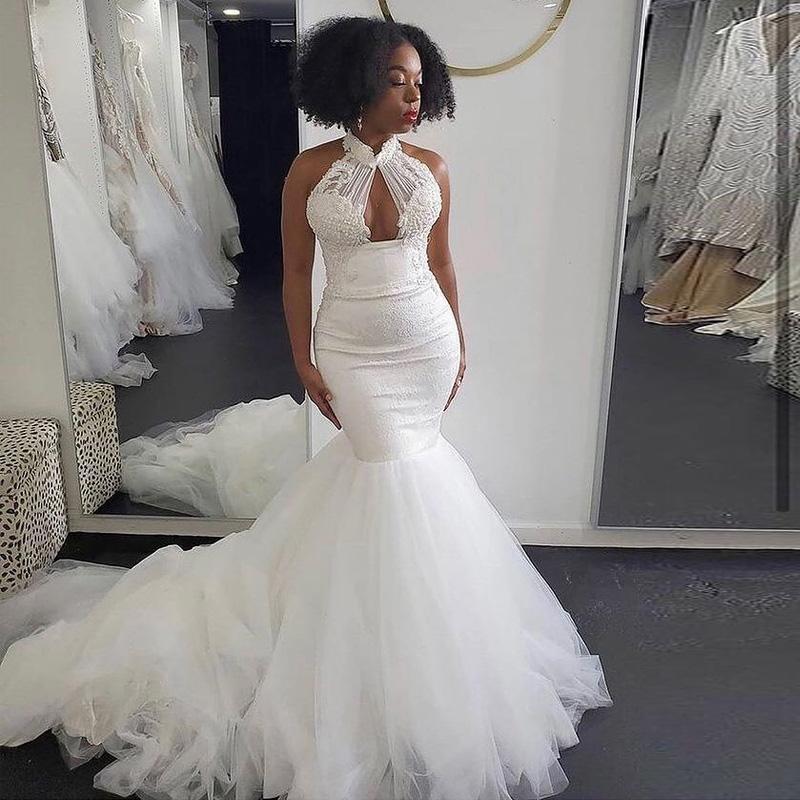 Keyhole Neck Mermaid Wedding Dresses Lace Appliques Bridal Gowns Sweep Train Garden Country Vestido De Novia