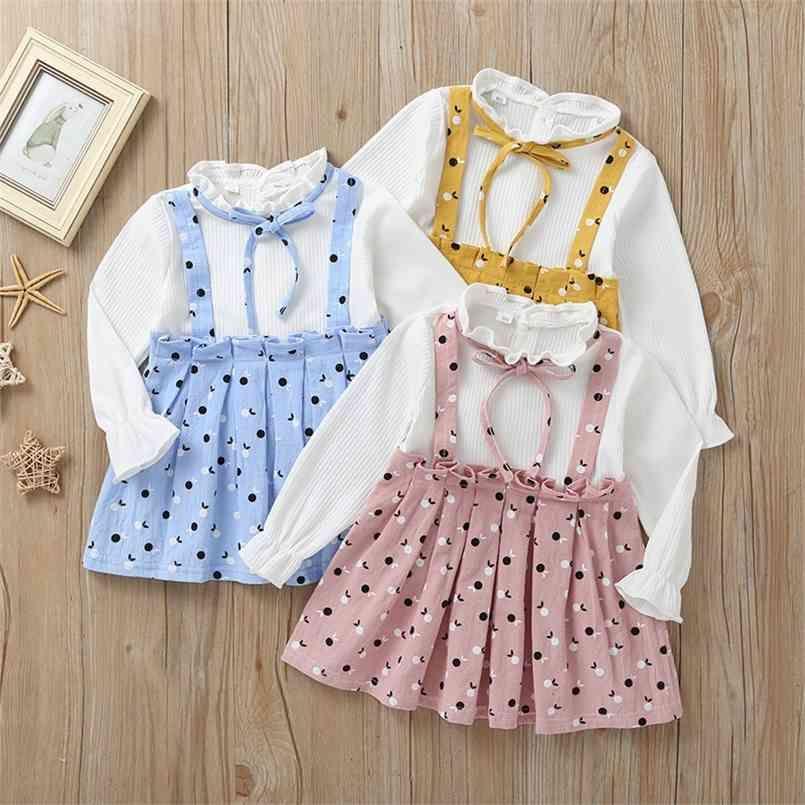 Autunno ragazze vestito estate carino patchwork bow dot rosa giallo blu a-line vestidos 2-8T 210623