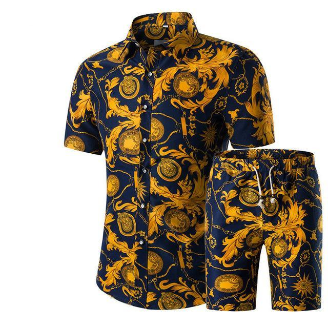 Yaz Erkekler Setleri Baskı Çiçek Kısa Kollu Gömlek Setleri Moda Rahat Fit Ince Turn-down Yaka Erkekler Hawaii Gömlek Suits