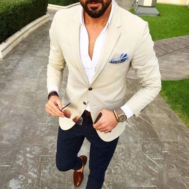 Tailored Beige Ivory Man Blazer Navy Blue Pants Casual Wedding Suits For Men Slim Fit Tuxedos Groom Terno Masculino Men's & Blazers