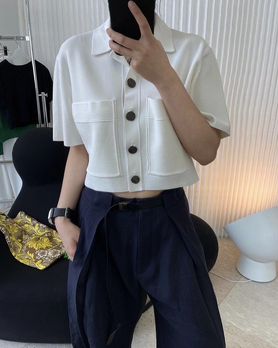 2021 small fragrance wind fashion ice silk lapel double pocket sleeve loose short high waist blouse woman