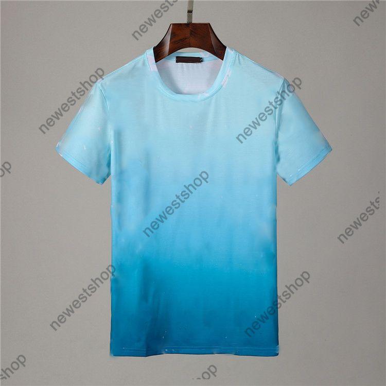 21SS Lujo Classical Big Letra Impresión Tshirts Summer Mens Designer de manga corta T Shirts Color Camiseta degradado Camiseta casual para mujer