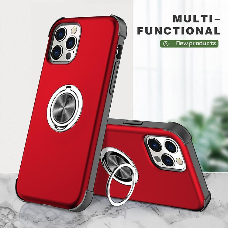 Shockproof Phone Cases With Metal Ring For iPhone 13 Pro Max 12 Samsung Galaxy S21 Plus A530 A90 A72 A71 A52 A21S A12 car holder kickstand cover case