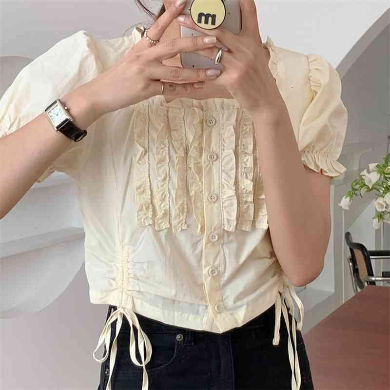 Frauen Blusen Hemden Vintage Rüschen Hohe Taille Square Kragen Chic Bequemen Alles Spiel Femme Loose Sweet Casual 013D