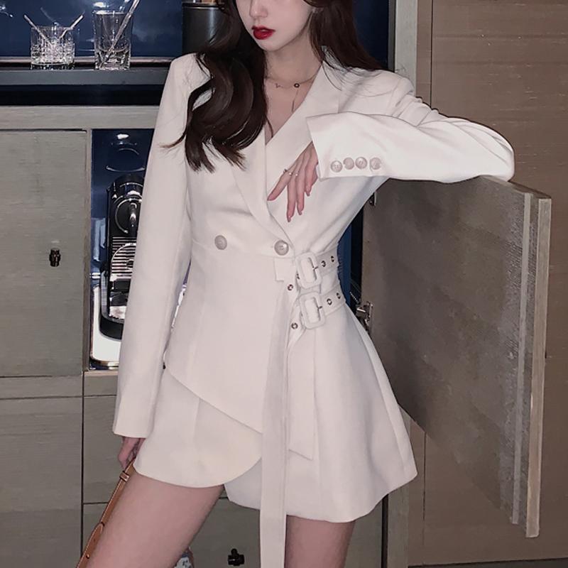 이른 가을 여성 패션 기질 불규칙한 스트랩 디자인 감각 허리 슬림 슈트 드레스 캐주얼 드레스