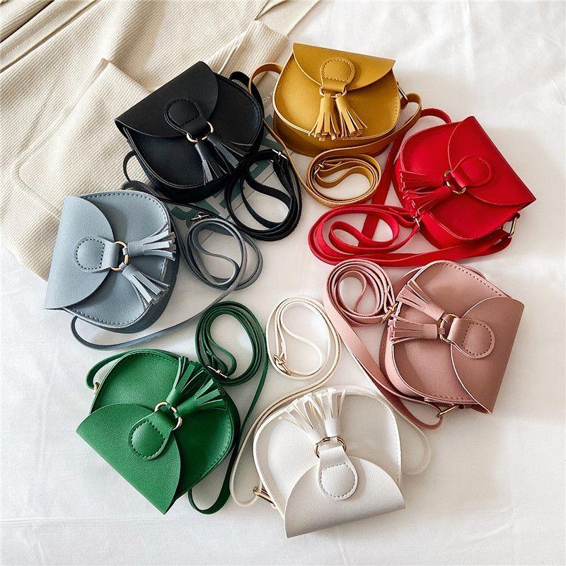 아기 소녀 가방 ins tassel messenger bag pu 가죽 크로스 바디 가방 만화 키즈 지갑 패션 동전 지갑 7 색 1114 v2