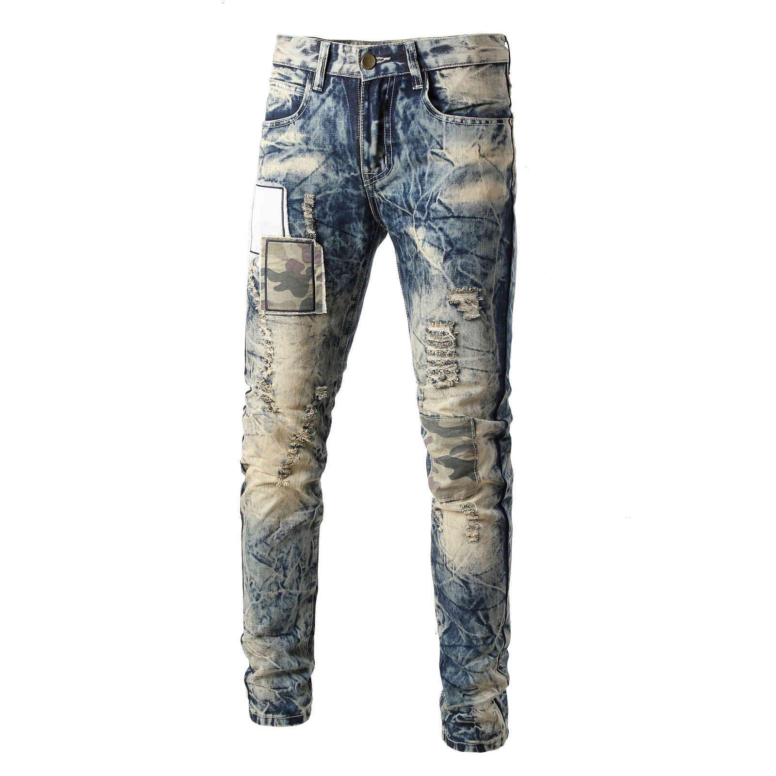 MEGGAR's Hole Patch Jeans Pegatinas bordadas de los hombres Moda Trend Jean Men