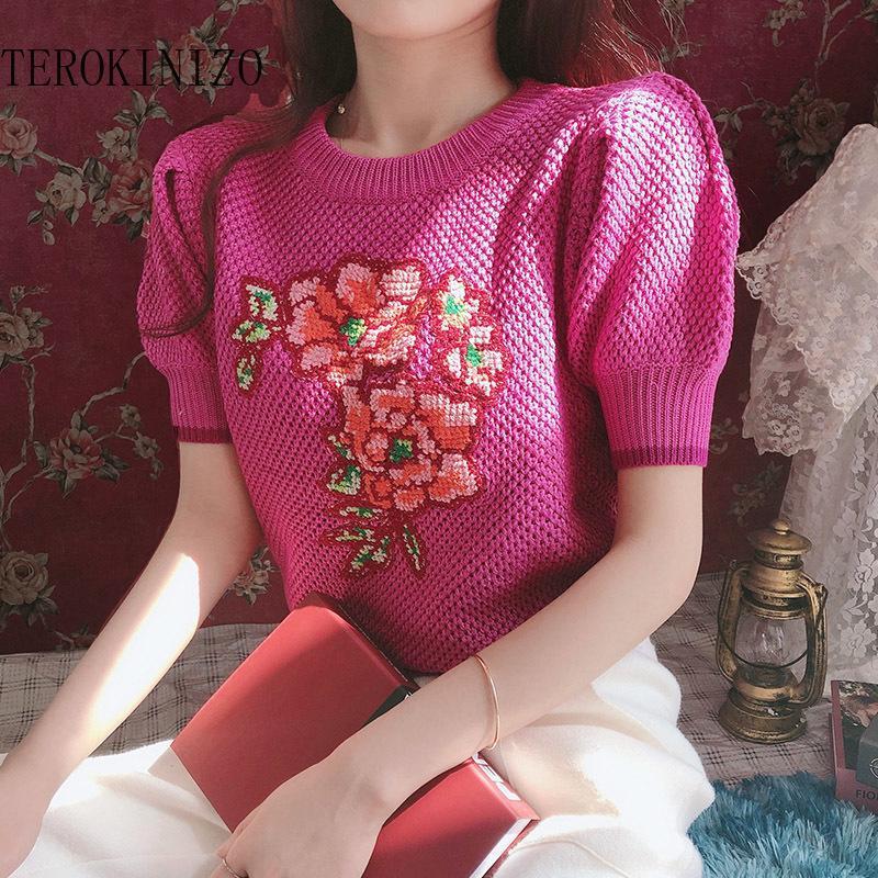 Flower Pattern Estate Maglietta a maglia Donne O Collo Manica corta Casual Vintage Tops Chic T-shirt femminile Camisetas T-shirt da donna