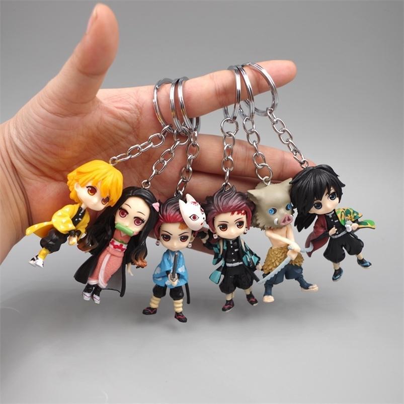 6pcs 애니메이션 악마 블레이드 Keychain 애니메이카 kimetsu no Yaiba 그림 tanjirou nezuko 액션 그림 악마 슬레이어 입상 장난감 열쇠 고리 210409