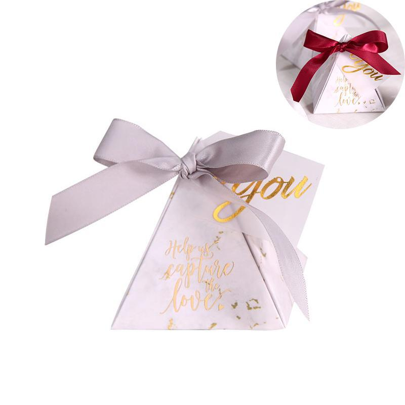 Gift Wrap 10Pcs Triangular Pyramid Candy Box Chocolate Sweets Packaging Paper Bags Wedding Favours Party Supplies